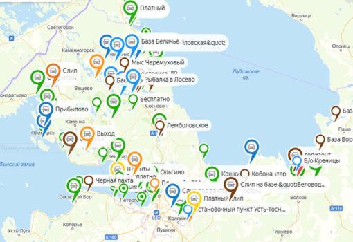 Карта СЛИПОВ ЛЕН.ОБЛ. где спустить лодку в СПБ